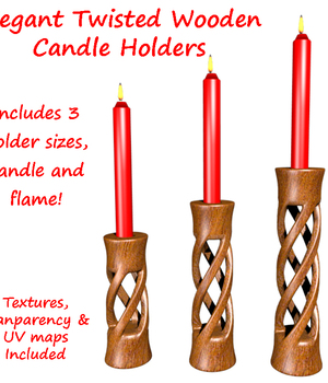 Twisted Candle Holder with candle and flame 3D Models dexterdoodle