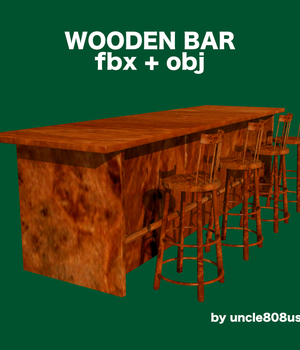 Bar and Stool fbx and obj Legacy Discounted Content uncle808us