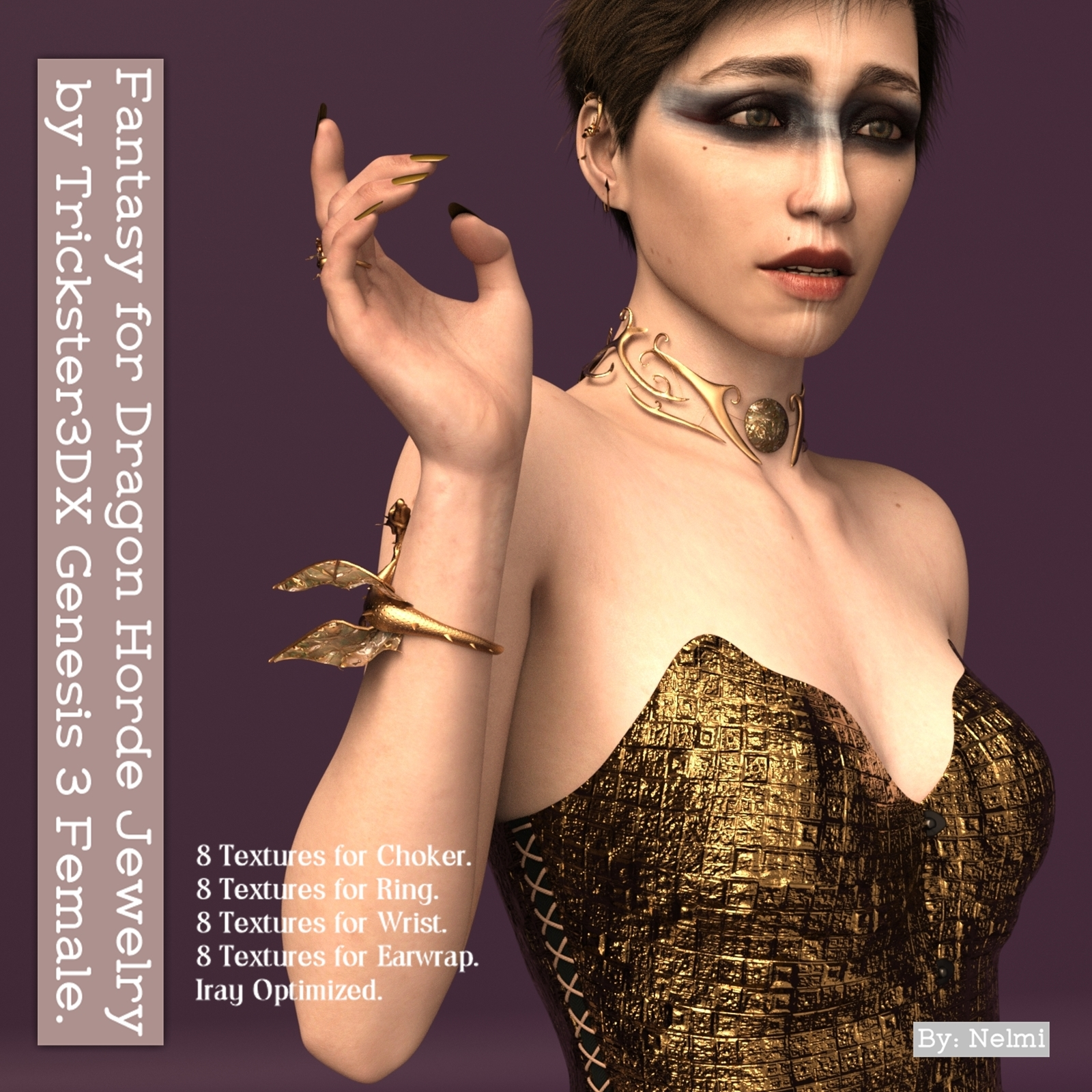 Fantasy for Dragon Horde Jewelry for Genesis 3 Female