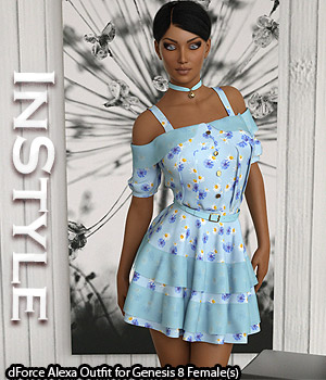 InStyle - dForce Alexa Outfit for Genesis 8 Females 3D Figure Assets -Valkyrie-