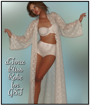 dForce-Bliss Robe for G8F 3D Figure Assets Lully