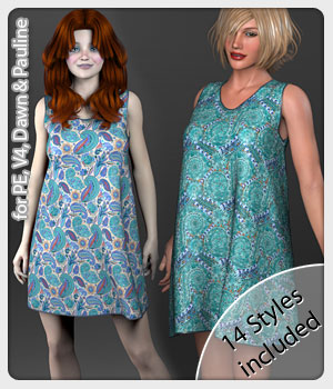 Lill Dress and 14 Styles for PE, V4, Dawn and Pauline 3D Figure Assets karanta