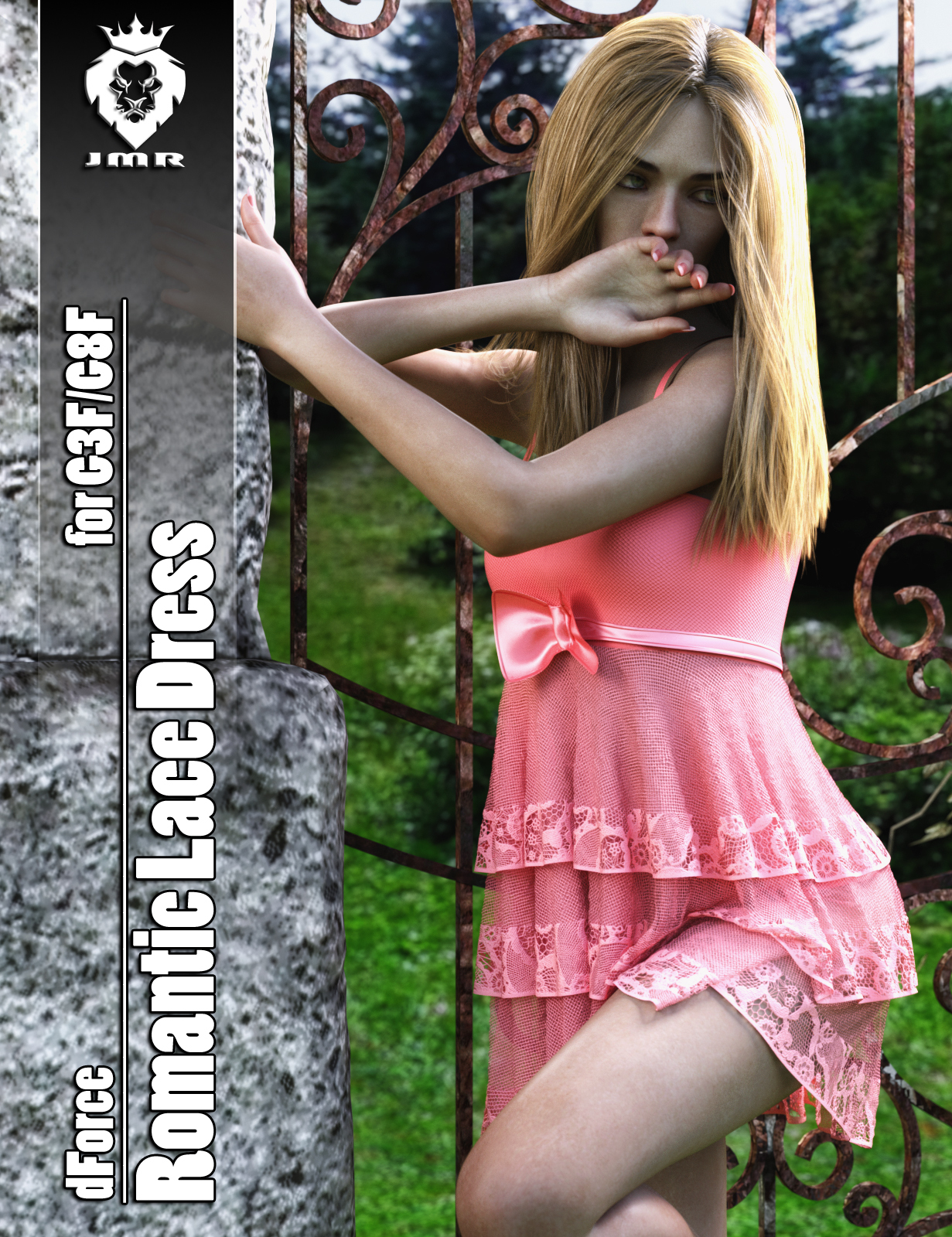 JMR dForce Romantic Lace Dress for G3F and G8F by JaMaRe