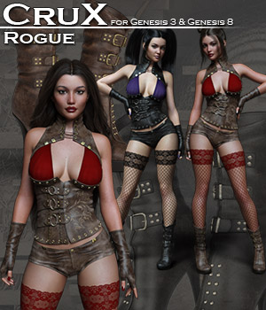 CruX Rogue for the Genesis 3 and Genesis 8 Females 3D Figure Assets Rhiannon
