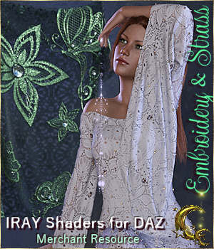 Embroidery & Strass - IRAY Shaders for DAZ  3D Figure Assets Merchant Resources Cyriona