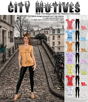WMs City Motives Pack 1 for Abigail Outfit for Genesis 3 Females 3D Figure Assets WiwimaX