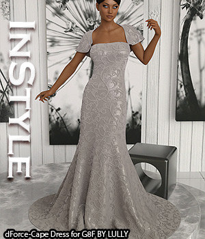 InStyle - dForce-Cape Dress for G8F 3D Figure Assets -Valkyrie-