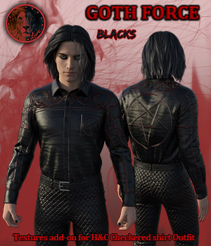 Goth Force blacks for H and C Checkered Shirt Outfit for G8M 3D Figure Assets Lyone