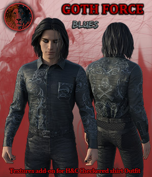 Goth Force blues for H and C Checkered Shirt Outfit for G8M 3D Figure Assets Lyone