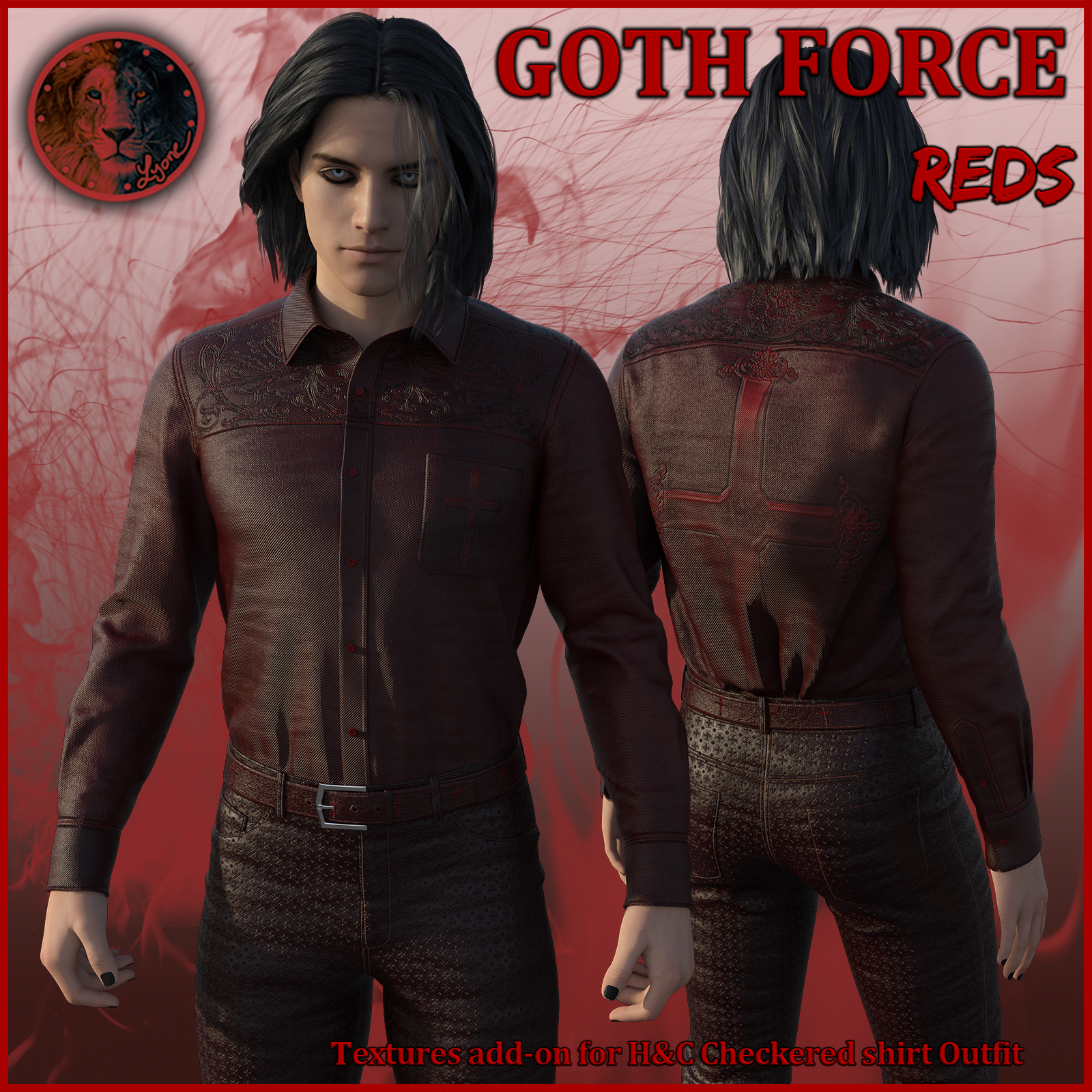 Goth Force Reds for H and C Checkered Shirt Outfit for G8M