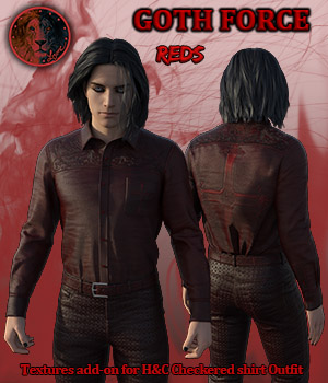 Goth Force Reds for H and C Checkered Shirt Outfit for G8M 3D Figure Assets Lyone