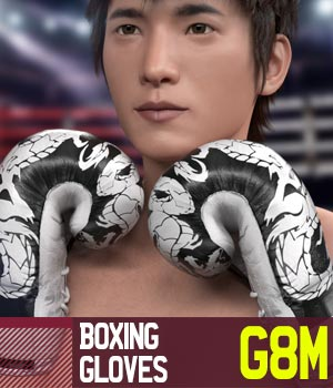 Boxing Gloves G8M for Genesis 8 Male 3D Figure Assets gravureboxing