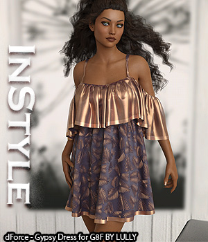 InStyle - dForce - Gypsy Dress for G8F 3D Figure Assets -Valkyrie-