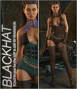 BLACKHAT - CruX Rogue for the Genesis 3 and Genesis 8 Females 3D Figure Assets Anagord