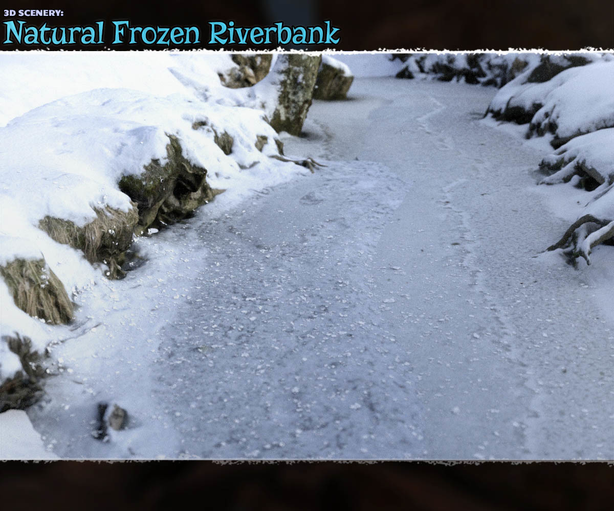 3D Scenery: Frozen Natural Riverbank - Extended License
