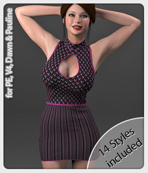 Mia Dress and 14 Styles for PE, V4, Dawn and Pauline 3D Figure Assets karanta