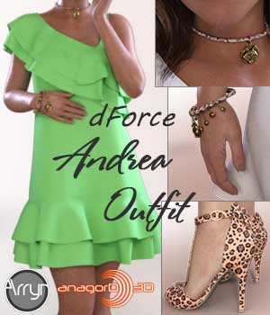 dForce Andrea Outfit for G8F 3D Figure Assets Arryn