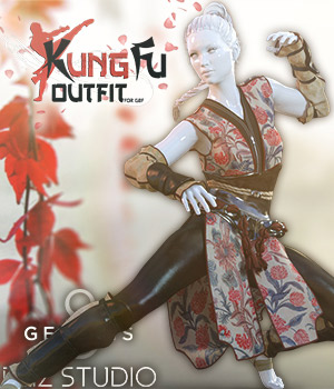 Kung Fu Outfit G8F 3D Figure Assets Man7a