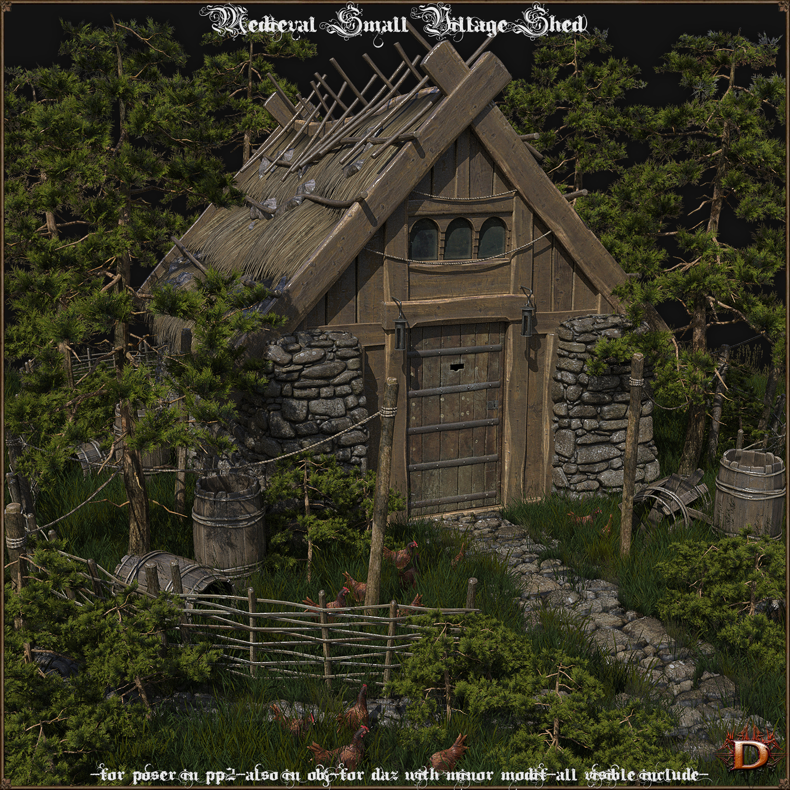 Medieval Small Village Shed
