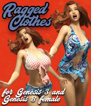 Ragged Clothes for G3F G8F 3D Figure Assets powerage