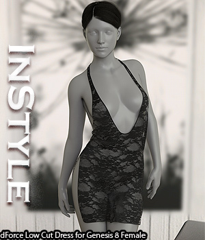 InStyle - dForce Low Cut Dress for Genesis 8 Female 3D Figure Assets -Valkyrie-