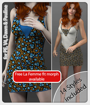 Jacky Dress and 14 Styles for PE, V4, Dawn and Pauline 3D Figure Assets karanta