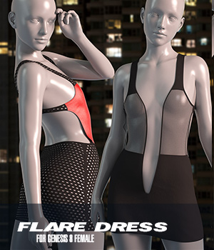 dForce Flare Dress for Genesis 8 Female 3D Figure Assets Imaginary3D