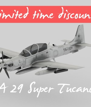 A 29 Super Tucano - Extended License 3D Game Models : OBJ : FBX 3D Models Extended Licenses MohamedAmir