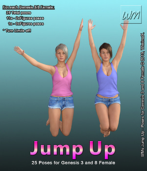WMs Jump Up - Poses for Genesis 3 and 8 Female 3D Figure Assets WiwimaX