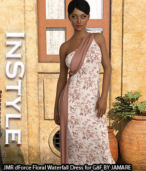 InStyle - JMR dForce Floral Waterfall Dress for G8F 3D Figure Assets -Valkyrie-