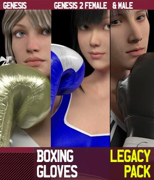 Boxing Gloves LegacyPack for Genesis 1 and Genesis 2 Female and Male 3D Figure Assets gravureboxing