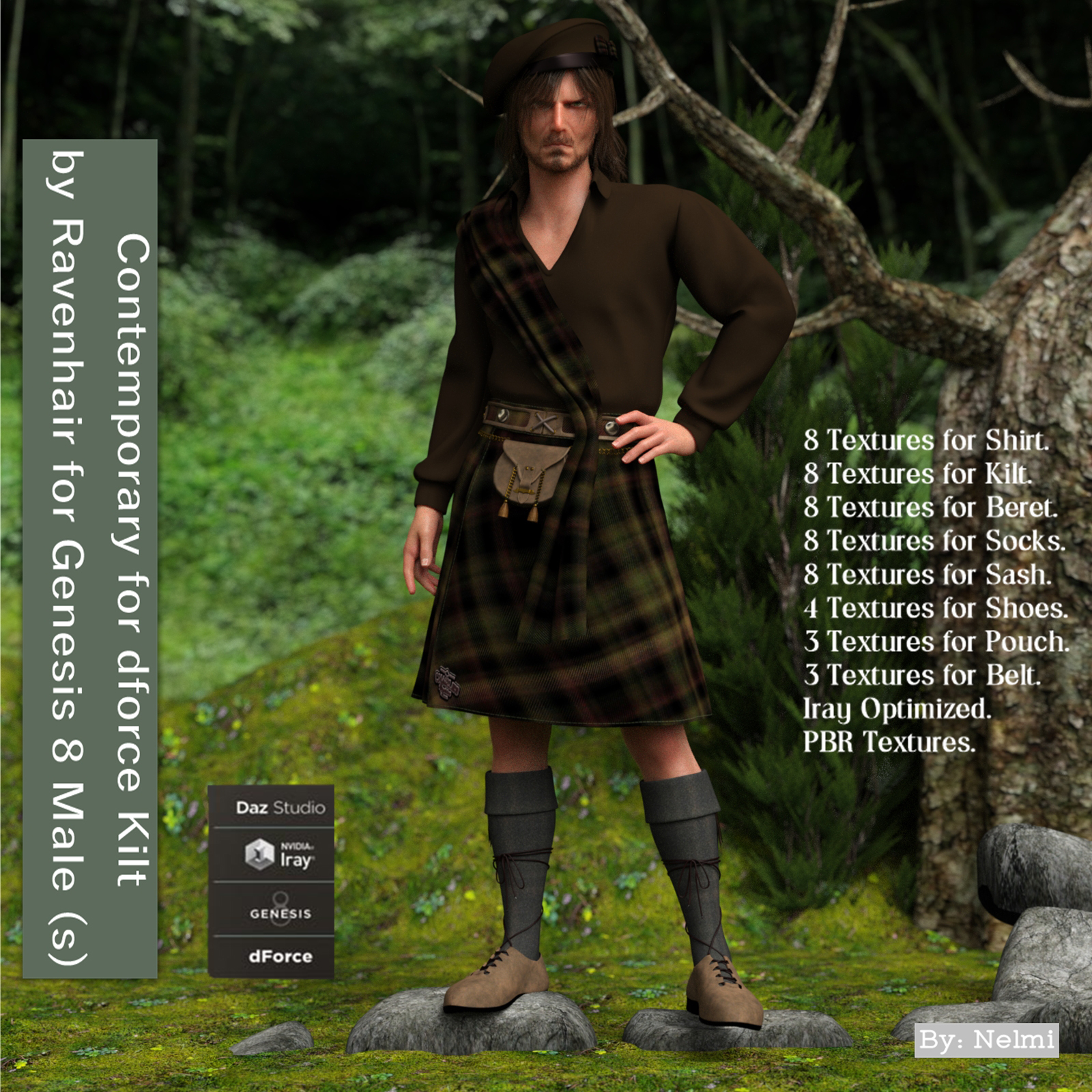 Contemporary for dforce Kilt for Genesis 8 Males