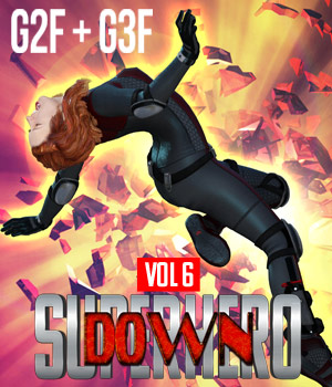 SuperHero Down for G2F and G3F Volume 6 3D Figure Assets GriffinFX