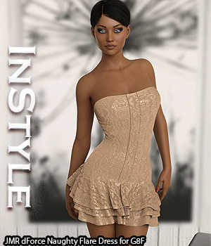 InStyle - JMR dForce Naughty Flare Dress for G8F 3D Figure Assets -Valkyrie-