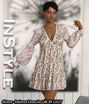 InStyle - dForce - Patience Dress for G8F 3D Figure Assets -Valkyrie-