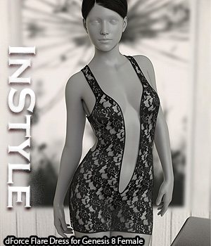 InStyle - dForce Flare Dress for Genesis 8 Female 3D Figure Assets -Valkyrie-