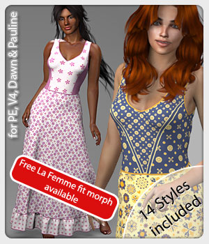 Mila Dress and 14 Styles for V4, PE, Dawn and Pauline 3D Figure Assets karanta