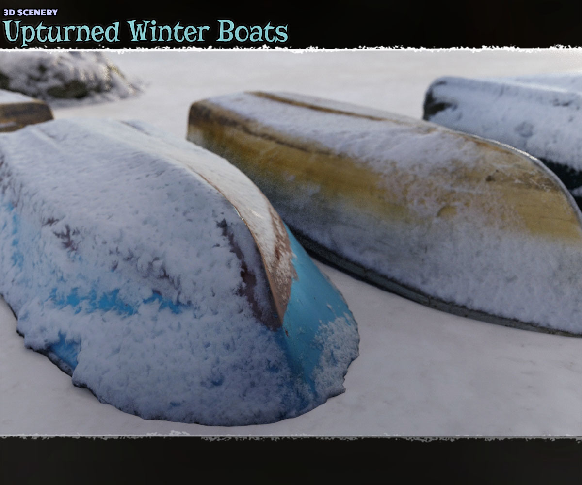 3D Scenery: Upturned Winter Boats