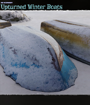 3D Scenery: Upturned Winter Boats 3D Models ShaaraMuse3D