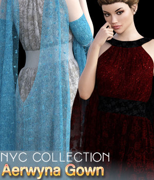 NYC Collection: dForce|Aerwyna Gown G8F 3D Figure Assets 3DSublimeProductions