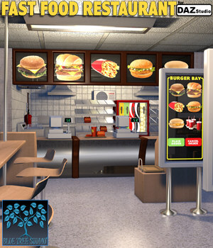 Fast Food Restaurant for Daz Studio 3D Models BlueTreeStudio