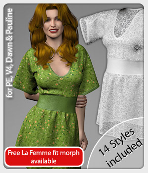 Eve Dress and 14 Styles for V4, PE, Dawn and Pauline 3D Figure Assets karanta