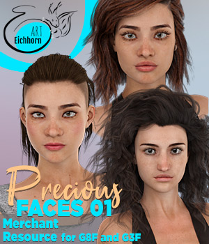 Precious Faces 01 for G8F and G3F - A Merchant Resource 3D Figure Assets Merchant Resources EichhornArt