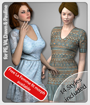 Denise Dress and 14 Styles for V4, PE, Dawn and Pauline 3D Figure Assets karanta