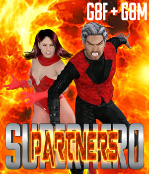 SuperHero Partners for G8F and G8M Volume 1 3D Figure Assets GriffinFX