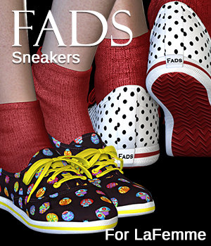 FADS Sneakers for La Femme and Poser 11 3D Figure Assets La Femme Female Poser Figure RPublishing