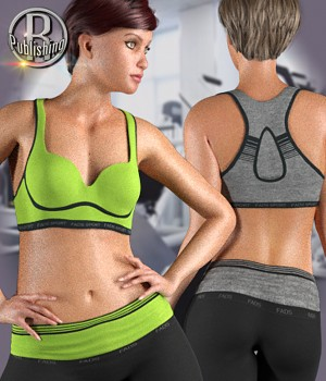 FADS Yoga Pants & Sports Bra for La Femme and Poser 11 3D Figure Assets La Femme Female Poser Figure RPublishing