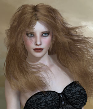 Kayla Hair For V4 M4 and La Femme for Poser 3D Figure Assets La Femme Female Poser Figure RPublishing