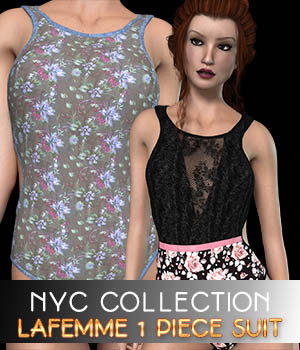NYC Collection: 1 Piece Suit - La Femme 3D Figure Assets La Femme Pro - Female Poser Figure 3DSublimeProductions