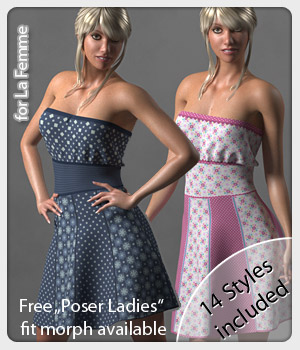 Rosie Dress and 14 Styles for La Femme 3D Figure Assets La Femme Female Poser Figure karanta